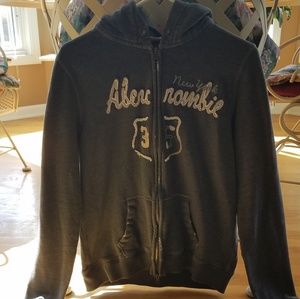 Abercrombie & Fitch Grey Zip Up Hoodie - X-Large